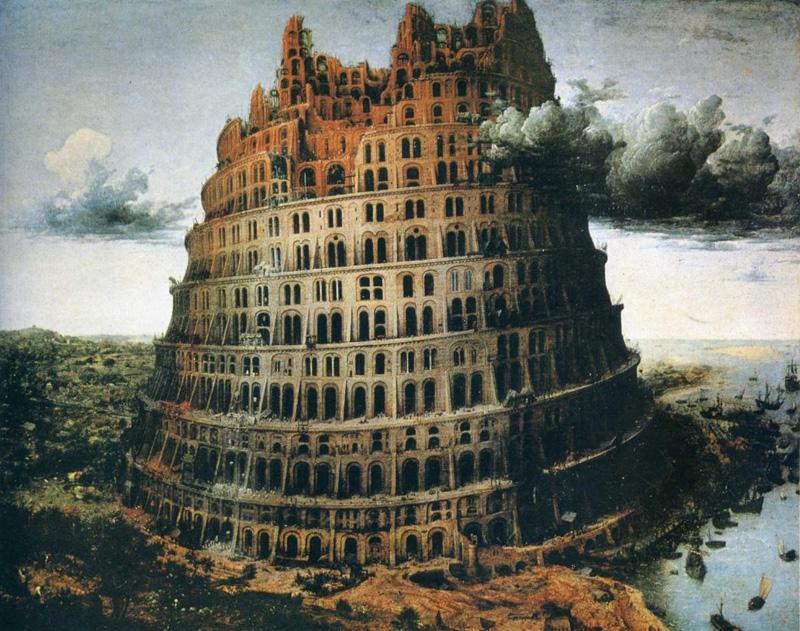 Schilderij De kleine Toren van Babel geschilderd door Pieter Bruegel de Oude in 1563. Nu in de collectie van Museum Boijmans van Beuningen in Rotterdam.