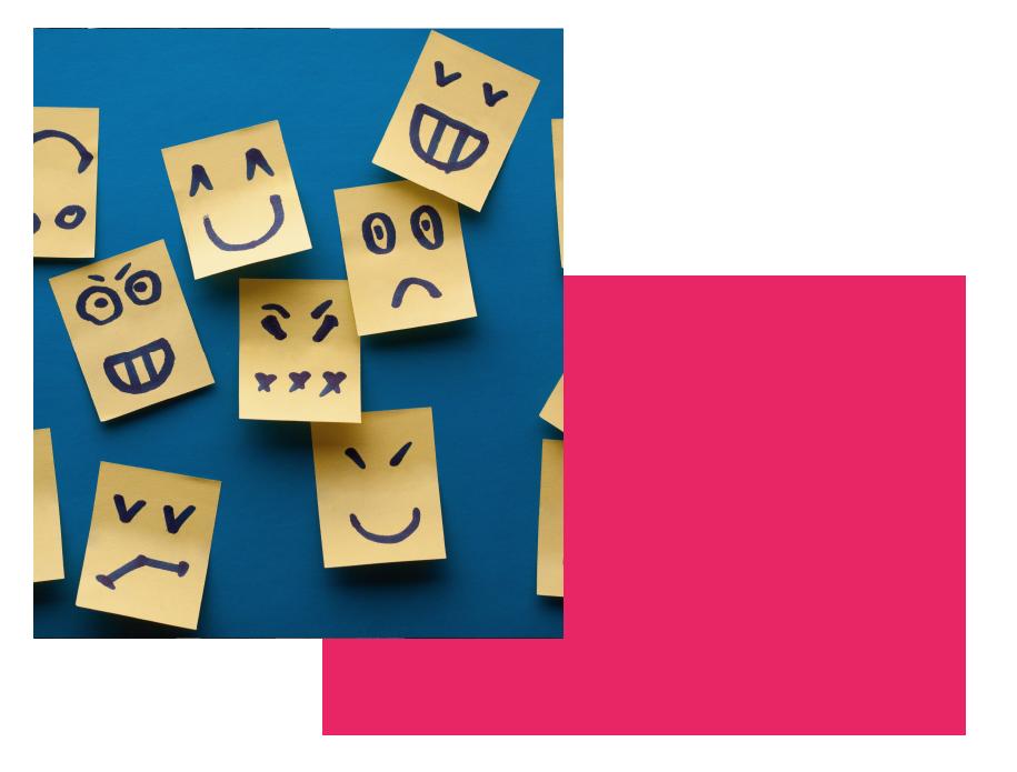 memo geeltjes met verschillende gezichtsuitdrukkingen hoe mensen zich kunnen voelen als er gedoe is in hun team